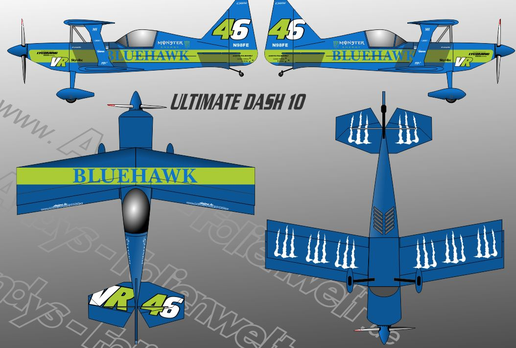 Ultimate Blue Hawk Monster Green