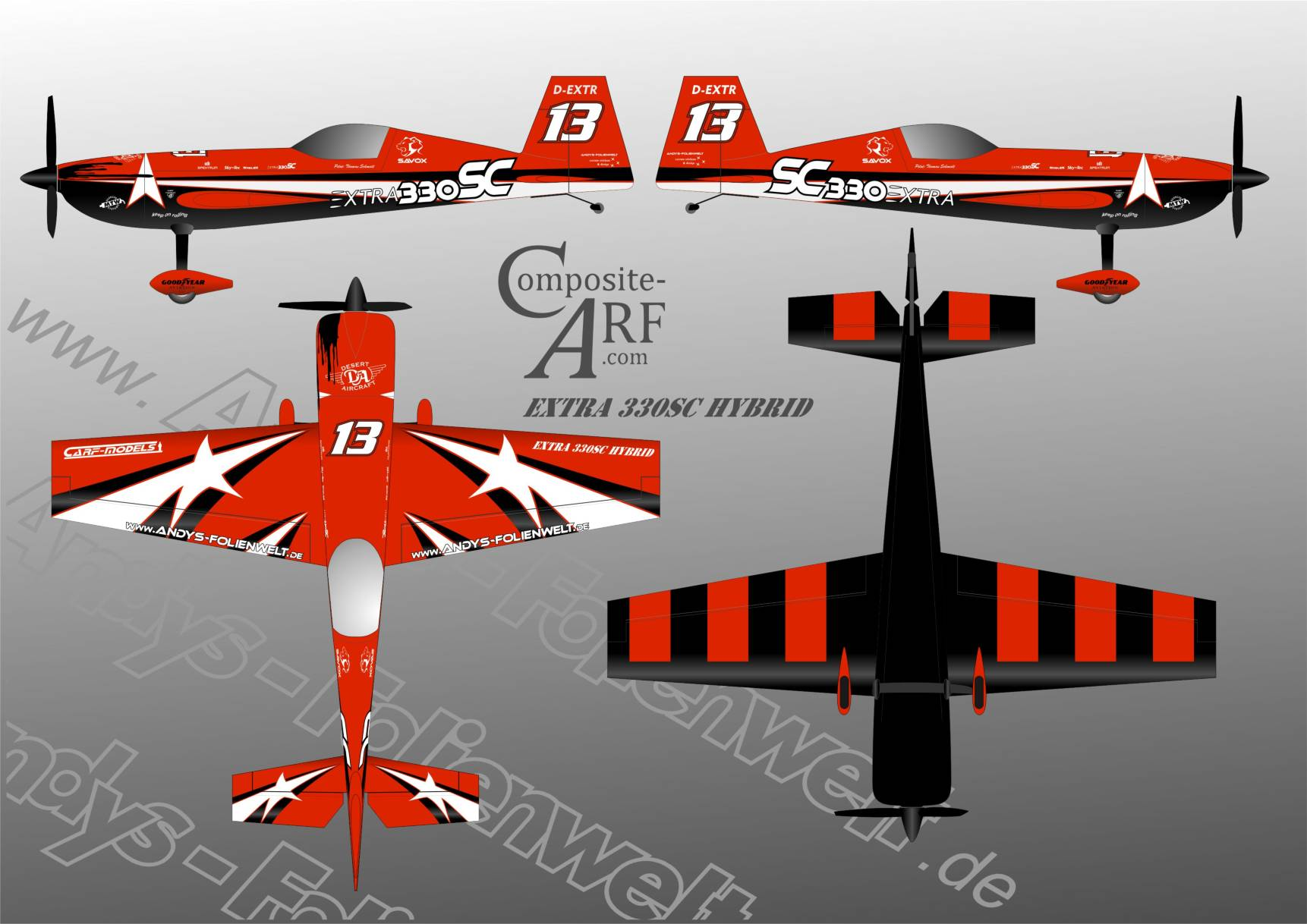CARF Extra 330 SC Hybrid red
