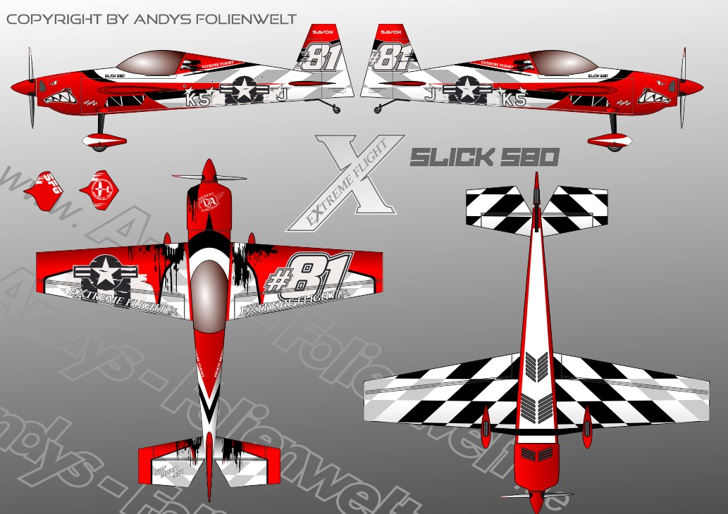 Slick 580 Extreme Flight got your six red