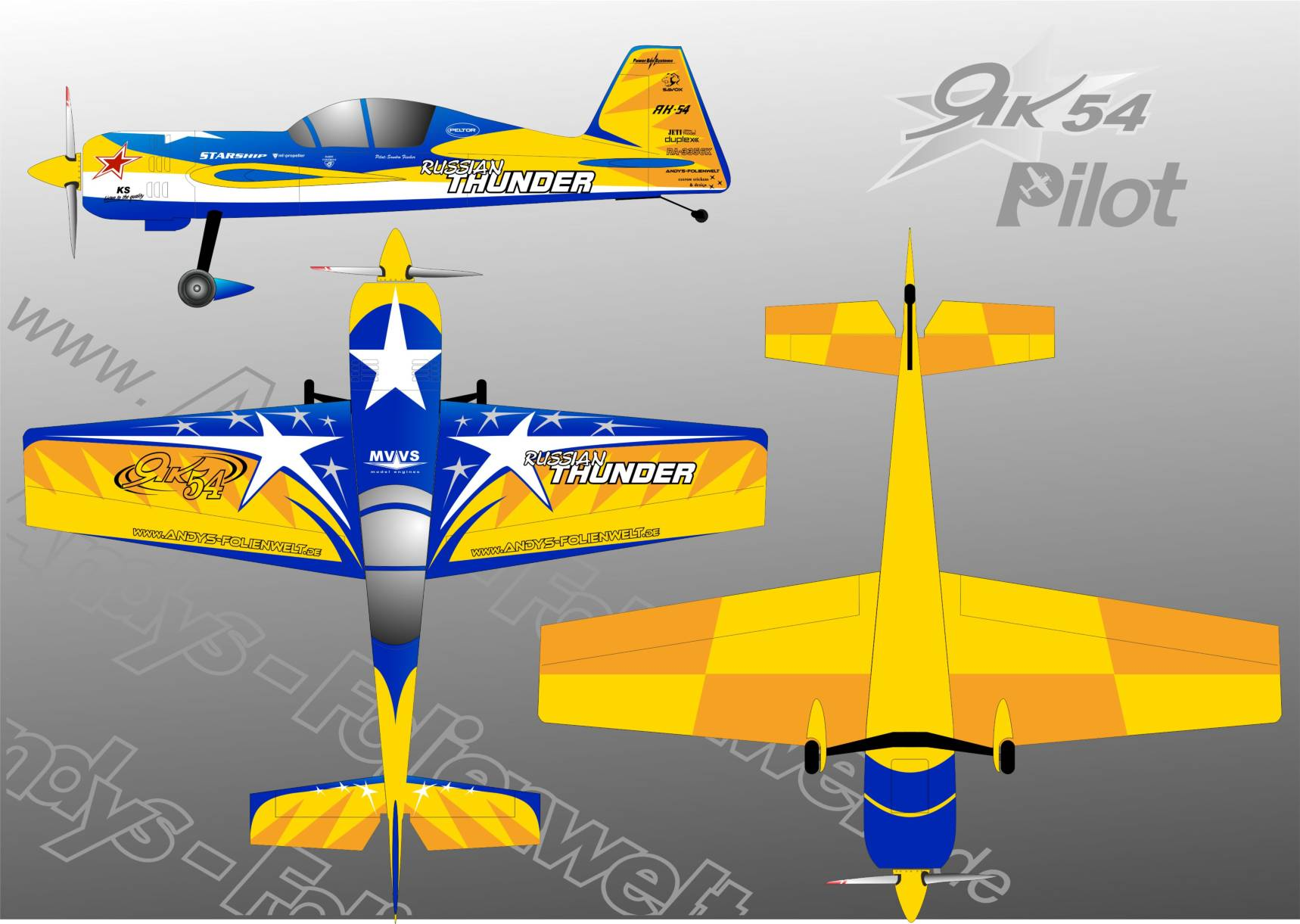 yak 54Pilot RC  yellow blue star